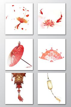 Beautiful ancient style red elements#pikbest#Graphic Elements Chinese Background, Chinese Design, China Art, Chinese Patterns, Art Reference Poses, Chinese Painting, Japanese Art, Watercolor Art, Fantasy Art
