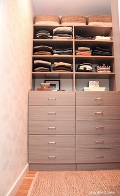 gray-walk-in-closet-design-simplified-bee - Simplified Bee Small Walk In Wardrobe, Custom Walk In Closets, Walk In Closet Design, Clever Closet, Simple Closet, Home Organization Hacks, Organizing Your Home, Master Closet, Closet Bedroom
