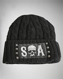 Sons of Anarchy Cuff Stud Leather Patch Beanie