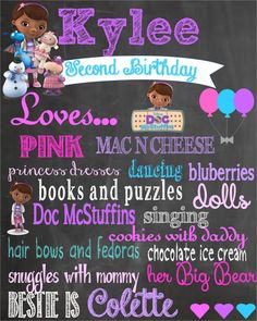 Printable Doc Mcstuffin Birthday Chalkboard Poster