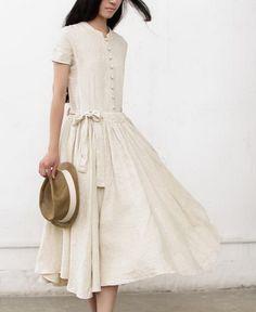 Buttons Chest String Waist Linen Dress-zeniche.com SKU aa0278