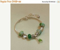 CLEARANCE European Style Charm Bracelet in tones of Green. V12