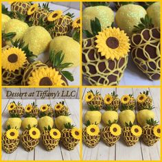 Sunflower Party, Sunflower Cakes, Chocolate Dipped Strawberries, Chocolate Covered Pretzels, Food Bouquet, Sweet Box, Strawberry Dip, Food Crush, Edible Gifts