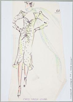 Magdalena Ignar, Projekt sukni, 1979 (?) , wł. MNK #PRL #Moda Polska #Polish Fashion #Magdalena Ignar