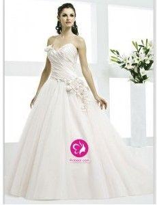 Mode de bal Col en cœur Traîne courte Robe de mariée en Tulle avec Fleurs manuelles Ruché(FR0259014)