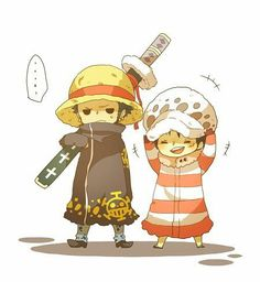 Luffy and Law ::: Chibi Law and Luffy, switching hats, so cute~