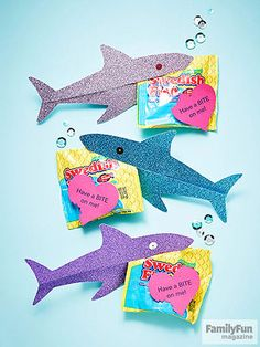 Have a BITE on Me. Sweet Valentine's Day Crafts for Kids: Release Some Shiny Sharks (via FamilyFun Magazine) Valentines Day Party, Valentines For Kids, Valentine Day Crafts, Holiday Crafts, Holiday Fun, Valentine Ideas, Valentine's Day Crafts For Kids, Happy Hearts Day, Holidays With Kids