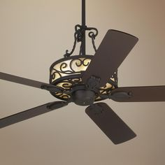 """60"""" John Timberland Natural Mica Collection Iron Ceiling Fan -                                      would be better with a lighter wood grain, 21.5"""""""