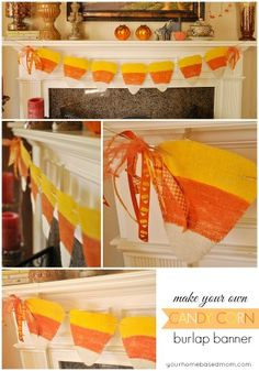 Next Halloween! Candy Corn Burlap Banner - could use decorative paper or have the kids paint, maybe add glitter Halloween Home Decor, Halloween House, Holidays Halloween, Halloween Crafts, Halloween Decorations, Halloween Party, Fall Decorations, Diy Halloween Banner, Halloween Ideas
