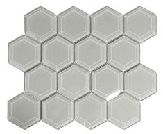 Show smoke hexagon beveled glass tile Backsplash Arabesque, Hexagon Backsplash, Kitchen Backsplash, White Subway Tile Bathroom, Glass Subway Tile, Tile Bathrooms, Beveled Glass, Mosaic Glass, Glass Art