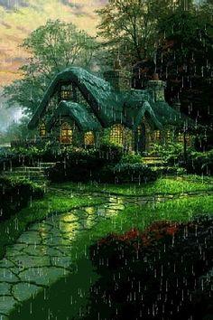 English cottage on a rainy day gif Beautiful Gif, Beautiful Places, Beautiful Pictures, Gif Pictures, Nature Pictures, Gif Bonito, Rain Gif, I Love Rain, Rain Days