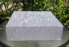 Rhinestone Diamond Mesh Square Wedding Cake Stand with Rhinestone Diamond Mesh on Top & Sides on Etsy, $45.00