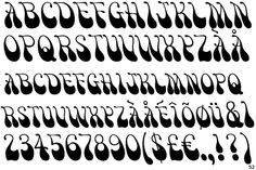 This is the very distinctive Victor Moscoso type. Hand Lettering Alphabet, Typography Letters, Lettering Styles, Lettering Design, Font Styles, Mode Pin Up, Victor Moscoso, Vintage Typography, Pinstriping