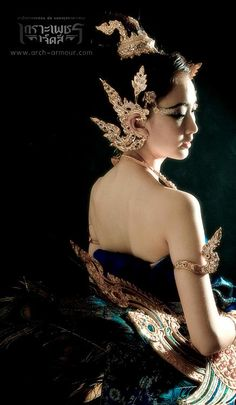 Thai traditional costume (fantasy)...like the ear piece and arm band here