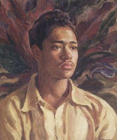 "HAWAIIAN BOY (ABRAHAM KAMAHOAHOA)1939 by Mabel Alvarez(1891-1985)  ... the artist has  added the words: KANE KAUA. ""Kane"" translates to ""man,"" and ""kaua"" means ""warrior"" or ""outcast,"" depending on the inflection. (Abraham was deaf-mute).  Mabel Alvarez was born to a prominent Spanish family who lived on the island of Oahu, Hawaii. Her father, Luis F. Alvarez, a physician, was involved with the leprosy research begun by the legendary Father Damien)."