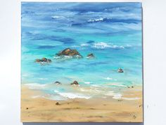 Original beach paintings for your home Title: Sunny Shoreline 5 Here is a closeup of the ocean shore on a beautiful day with multi-colored blue and turquoise waves coming up on the sandy beach, with a few rocks at the shoreline as well. It looks ready to step into! This is a large 24x24 inch square canvas done in acrylic paints, with both brush and palette knife, with the palette knife leaving some texture in the seafoam. The 5/8 inch staple free sides are painted a dark sand-tone,...
