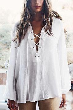 0f281f4e0f Deep V Neck Lace Up Plain Blouses  blouse  dress  fashion  streetstyle