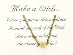 Make A Wish Heart Necklace by SilverMoonBay on Etsy, $12.99
