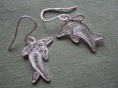 Handmade Sterling Silver Filigree Dolphin Earrings by TrulyFiligree on Etsy