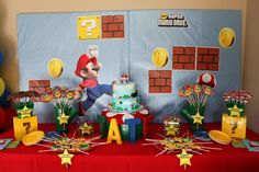 I love everything about this Super Mario Brother Bday Party!