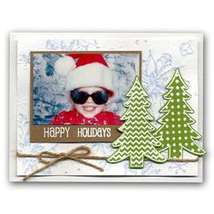 Stamp & Cut Christmas Trees Photo Card