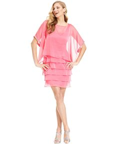 London Times Dress and Poncho, Short-Sleeve Tiered Jeweled - Womens Dresses - Macy's