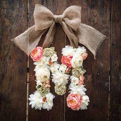 Custom Floral Letter Flower Initial door hanger by SolidWoodDoor Peach Nursery, Girl Nursery, Nursery Decor, Floral Nursery, Initial Door Hanger, Door Hangers, Initial Wreath, Peach Baby Shower, Girl Shower