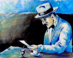 """Lote 3934 - António Faria - Original - Pintura a óleo sobre tela, assinada, motivo """"Fernando Pessoa"""", com 65x81 cm - Current price: €1"""