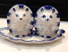 Hedgehogs Gzhel porcelain figurine salt and pepper Souvenirs from Russia