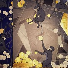 Deconstructed @degournay #artdeco #monkey wallpaper remnants #collage #art