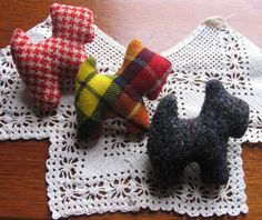 3 Upcycled Scottie Dog Pins, Tartans, Harris Tweed or Red Check