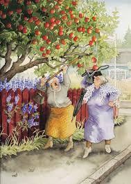 """Inge, Look, It's Raining Apples Into Your Bag!""~ Artist: Inge Look. Bff Abbildungen, Old Lady Humor, Alphonse Mucha, Whimsical Art, Old Women, Getting Old, Finland, Illustrators, Cool Art"