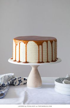 London Fog Cake - chocolate cake with Earl Grey buttercream and salted caramel, a recipe from the new cake book Layered by Tessa Huff | on TheCakeBlog.com