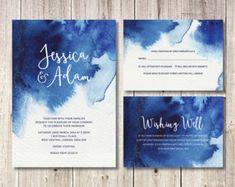 Navy Blue Watercolour Wedding Stationery // DIY Printable Invitations