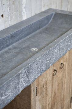 Bathroom furniture old wood with solid Belgian bluestone
