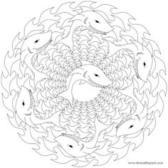 3D Sharks Colouring Book sample pages Dover Publications