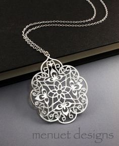 Filigree Silver Necklace. Long Chain by Menuet Designs, $22.50