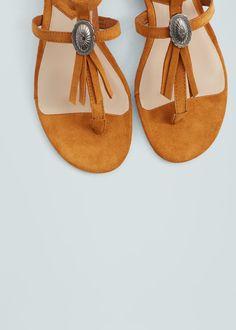 Fringe leather sandals | MANGO