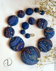 """Колье """"Джинсовое"""" - темно-синий,синий,джинса,имитация,полимерная глина"""