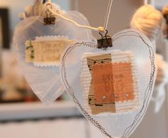 Wax paper hearts sewn around little treasures Hanging Hearts by Becky Shander Paper Hearts, Craft Projects, Crafts For Kids, Arts And Crafts, Craft Ideas, Diy Ideas, Noel Christmas, Christmas Crafts, Decoration Vitrine