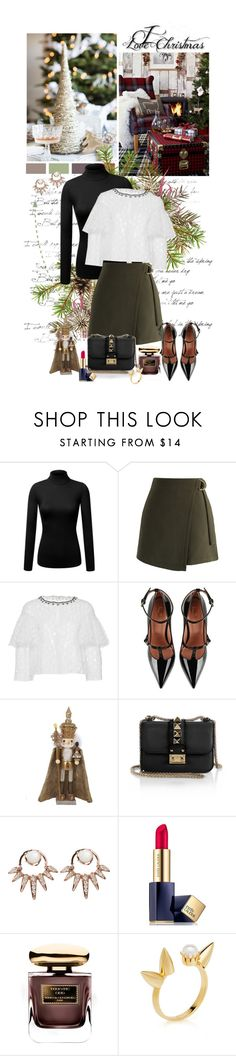 """""""Holidays :)"""" by auby ❤ liked on Polyvore featuring Chicwish, Monique Lhuillier, RED Valentino, Kurt Adler, Valentino, Nikos Koulis, Estée Lauder, By Terry and Joomi Lim"""