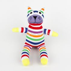 Christmas New year gift 100% handmade DIY stuffed sock animals doll baby toys Rainbow Striped Cat Kitty-in Stuffed & Plush Animals from Toys & Hobbies on Aliexpress.com | Alibaba Group