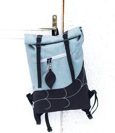 Silver Leaf Roll Top Backpack,Waterproof Rucksack, Laptop Backpack, Boho Backpack  Cordura Backpack, School Backpack, Hipster Backpack
