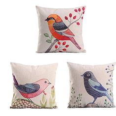 Monkeysell 3pcs Custom LOVE Birds Pattern Linen Decorative Throw Pillow Case Sofa Car Throw Pillow Cover Three little birds and flowers * You can find more details by visiting the image link.