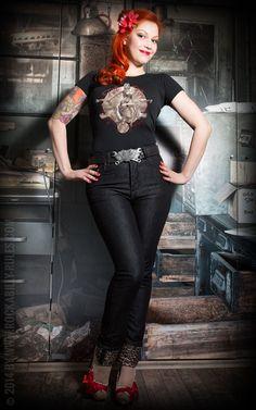 2903ff95509d Rumble59 Ladies Denim Black Marilyn`s Curves Slim Fit | Lipstick &  Gearstick Rockabilly Fashion