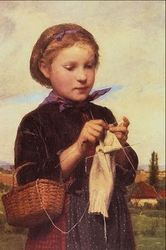 Young Girl Knitting by Albert Anker