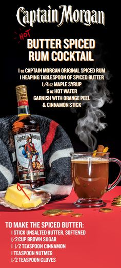 Spring, is that you? No, no it's not. But don't fret, Captain will keep you warm during the last weeks of winter with a toasty drink—The Captain Morgan Hot Butter Spiced Rum Cocktail. To whip up the spiced butter, combine the butter, brown sugar, and spices in a small mixing bowl. Then, in a mug, mix the Captain Morgan Original Spiced Rum, maple syrup, and the spiced butter. Pour the hot water over top, stir, garnish, and enjoy #LikeACaptain.