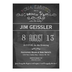Dadchelor Party Invite in Chalkboard Typography