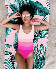 b7a3f6862caa2d All Smiles Because This Is My Happy Place Pink Ombré, Stripes + Tropical  Leaves = Perfection // Shop this outfit in the link