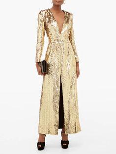 Gold Borgo De Nor Gisele V-neck sequinned maxi dress Women's Evening Dresses, Gisele, Gold Dress, Dresses For Sale, Dresses With Sleeves, Slip Dresses, Sequins, Glamour, V Neck